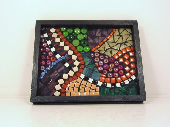 DADS and GRADS-- MOSAiC tray --  purple orange green with accents, 8x10, self-framed art or catch-all dish   -TaGT