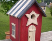 Americana Birdhouse Red White and Blue