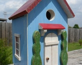 Bird House  Egg Blue with White Trim and  Red Roof