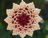 Crochet dreamcatcher lace mandala window hanger doily red peach cream colors beaded