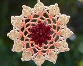 Crochet dreamcatcher lace mandala window hanger doily red peach cream colors beaded