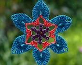 Crochet lace suncatcher, flower doily mandala, crochet hanger turquoise, violet and coral colors, beaded.