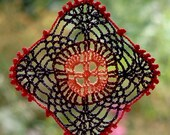 Dreamcatcher doily crochet lace square hanger peach red violet coral colors