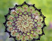 Crochet lace dreamcatcher mandala window hanger doily violet cream colors beaded