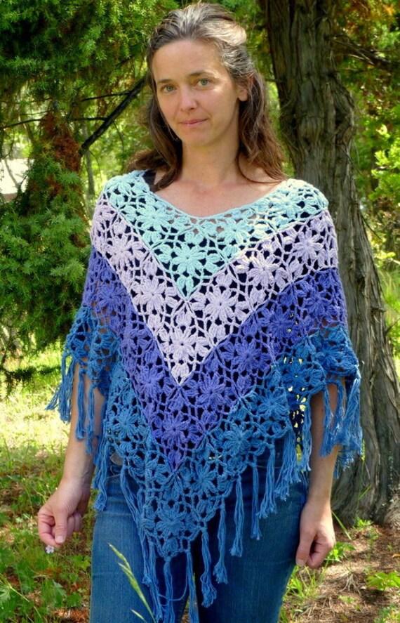 Poncho crochet shawl lace flower beaded elegant OOAK blue violet pink folk boho