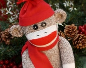 Handmade Classic Red Heel Sock Monkey with winter cap and scarf Ready To Ship