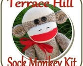 Make Your Own Classic Red Heel Sock Monkey --Sock Monkey Kit READY TO SHIP