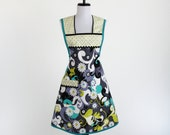 Plus Size Womens Apron Retro Daisy Doodle Dandy Fabric Black Charcoal Aqua Citron Yellow Gray NEXT SIZE UP