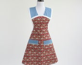 SALE 20% OFFChristmas Apron Red and Blue Retro Apron for Christmas, Last One