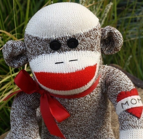 Plush Childrens Sock Monkey Doll with MOM Tattoo, LAST ONE