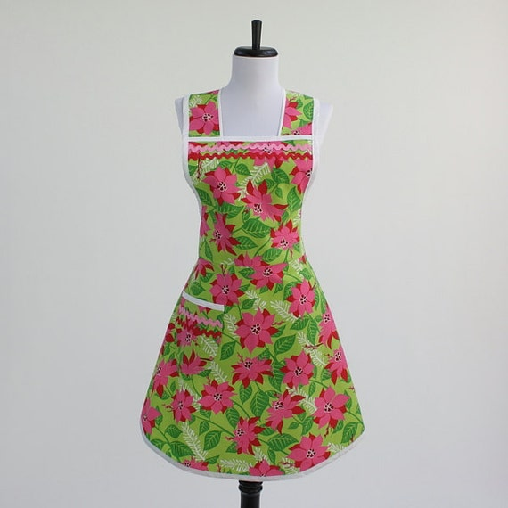 Retro Christmas Apron Lime Green with Pink and Red Poinsettias
