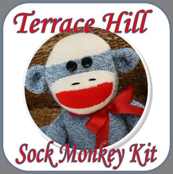 BLUE Sock Monkey Kit DIY Pattern and Instructions  Last One on Sale