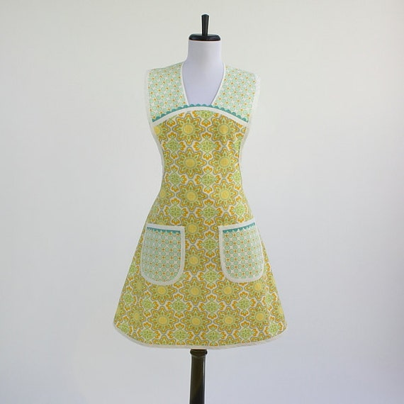 Retro Apron Vintage Inspired Hues of Yellow, Gold and Blue NEXT SIZE UP