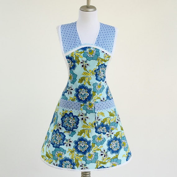 Pretty Blue and Green Retro Full Apron with Vintage Style Print