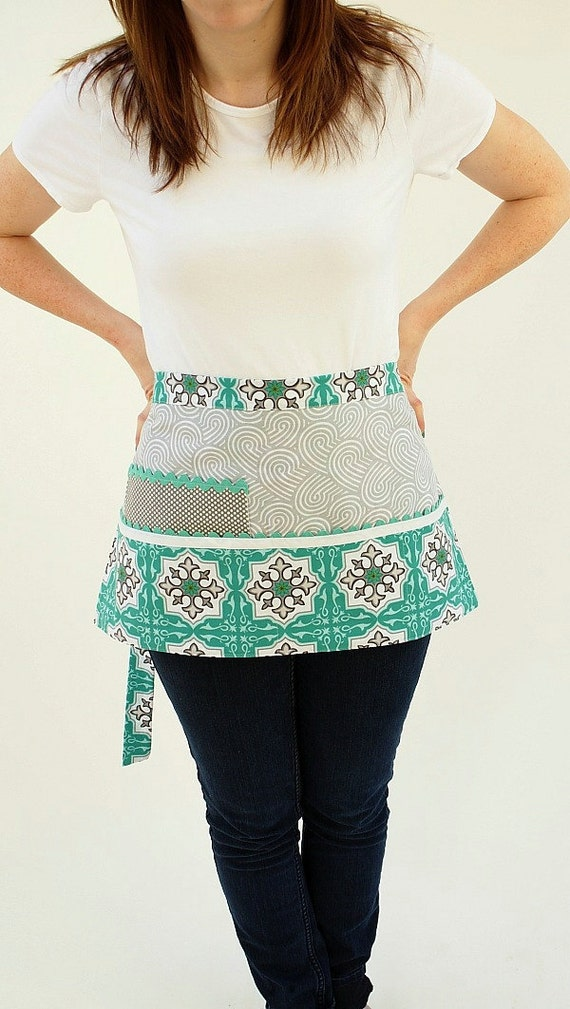 Retro Aqua and Gray Vendor Apron Waitress Style Craft Pouches and Pockets LAST ONE