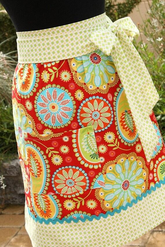 Red Half Apron Michael Miller Bandana Gypsy Fabric Waist Retro Cooking