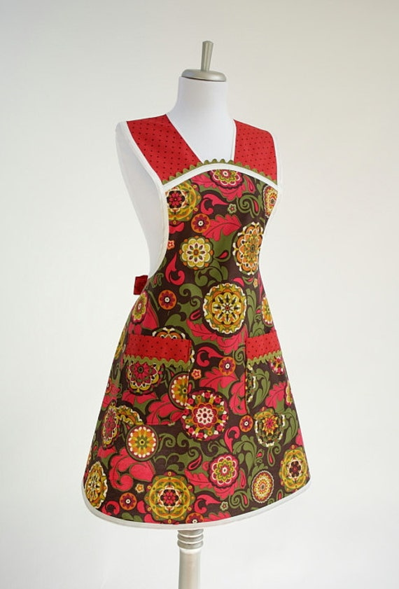 Plus Size Ladies Apron Vintage 1970s Style Brown Olive Gold and Burgundy
