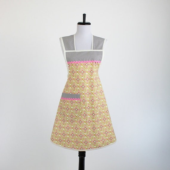 Gold Pink and Gray Pretty Retro Apron Michael Miller Fabric