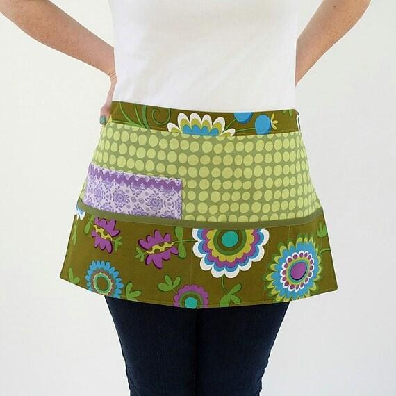 Green Purple Aqua Vendor Apron Waitress Barista Michael Miller Fabric Pocket Pouch Craft