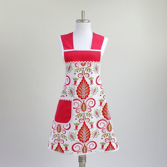 Retro Full Cooking Apron Whimsy Doozie Pink, Red and Green LAST ONE