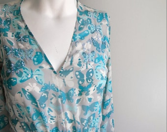 vintage. Genny Butterfly Print Aqua Blues Flowy Silk Dress