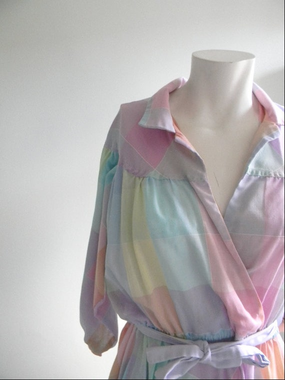 vintage. 70s Pastel Plaid Dancing Dress
