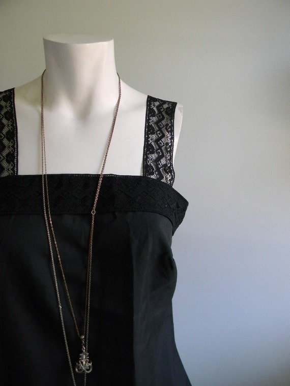 RESERVED for Marie- Helene ////// vintage. 70s Lace Detailed Black Tank Top