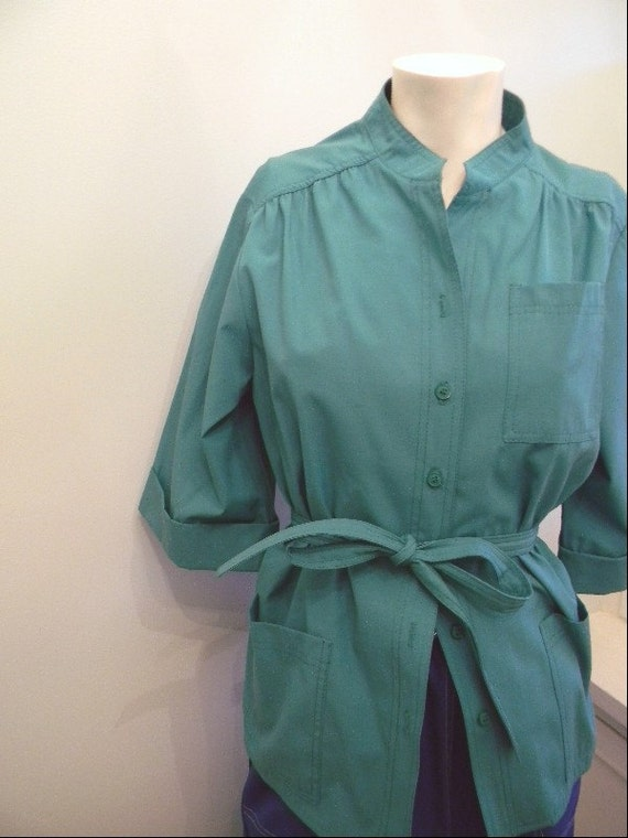 RESERVED for Arianne ///// vintage. 60s Leslie Fay Green Jacket Blouse