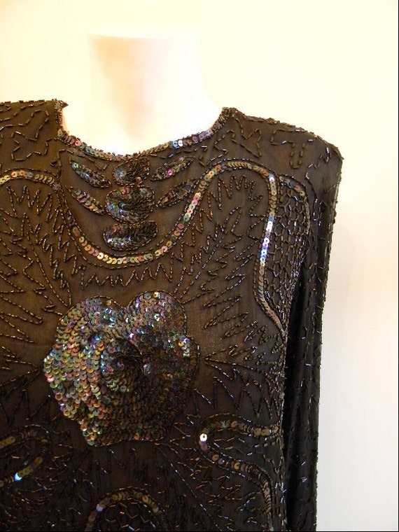vintage. Black Beaded and Sequins Silk Blouse