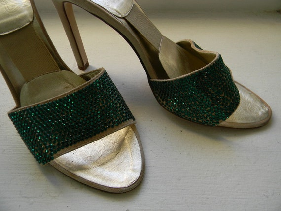 RESERVED for Azzy ///// vintage. VERSACE Slingback Cream Suede Green Sequins Pumps