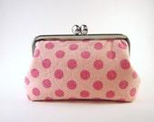 frame pouch- pink polka dots - digital camera snap case