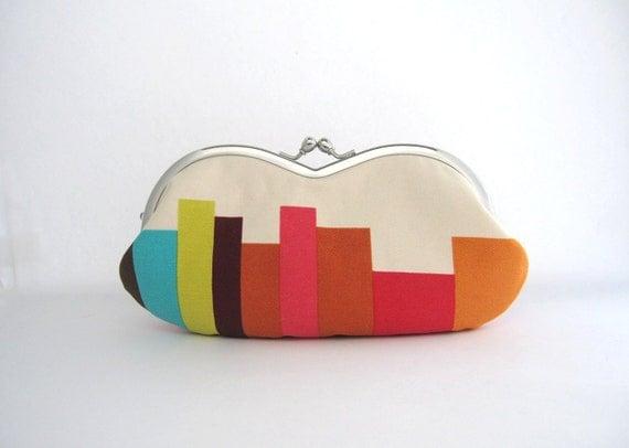 LAST ONE sunglass / eyeglasses case- stripe on beige -red- snap case- frame purse