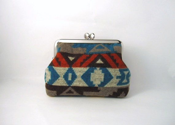 metal frame cosmetic pouch- tribal geometric soft knit