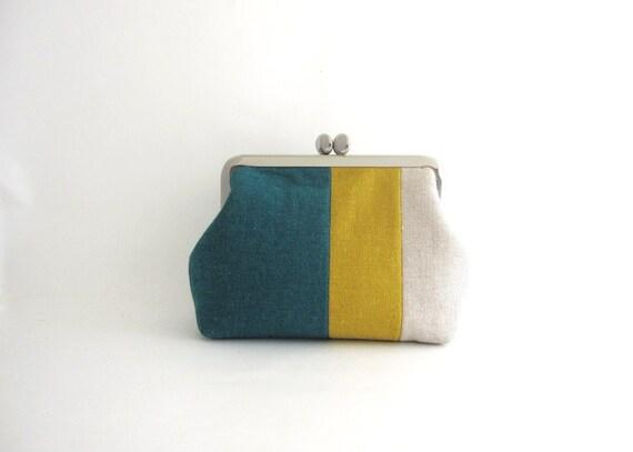 Handmade Frame Purse/ Wallet / Pouch-- linen stripe patchwork