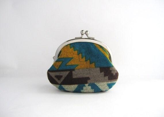 silver frame coin purse- tribal geometric soft knit