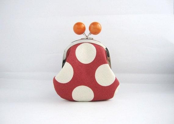 Orange Bead Coin Purse - red polka dots