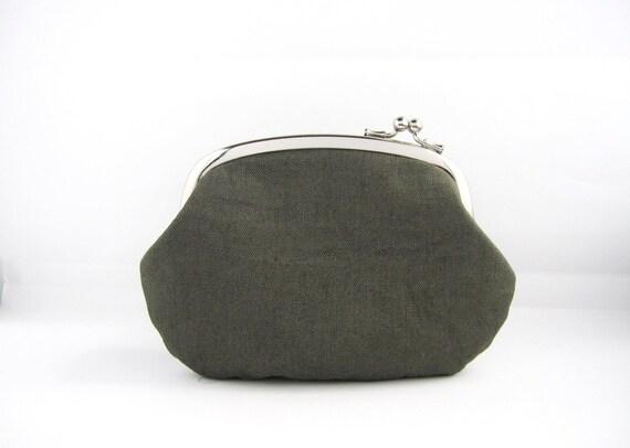 SALE Frame Purse- gray linen side lock pouch