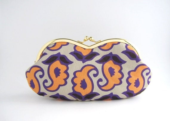 sunglass / eyeglassescase- orange flower on gray -snap case- frame purse