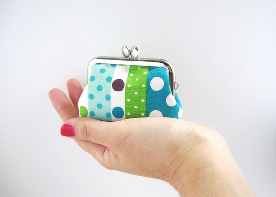 Frame Coin Purse-- mini  jewelry case with ring pillow  blue polka dots