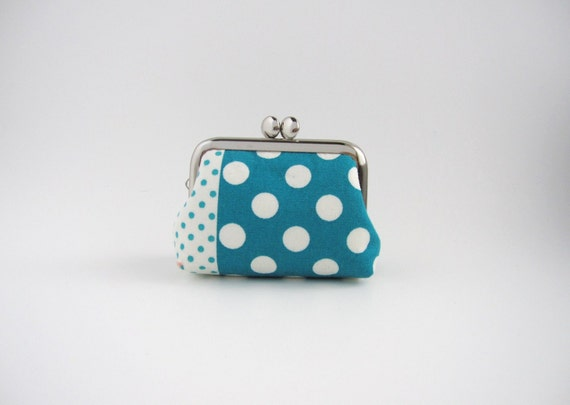 Coin purse- Mini jewelry case with ring pillow- kiss lock coin case- blue polka dots
