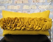 Golden Yellow Felt Ruffle Kidney Pillow Cover
