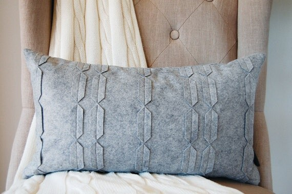 SALE - Gorgeous Gray Felt Chain Kidney Pillow - Limited Edition