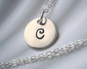 Initial Sterling Silver Charm Necklace - Hand Stamped - Personalized