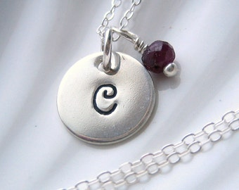 Ruby Initial Sterling Silver Charm Necklace - Hand Stamped - Personalized - The Mini