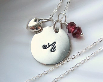 Heart & Garnet Initial Charm Necklace - Sterling Silver - Hand Stamped - Personalized