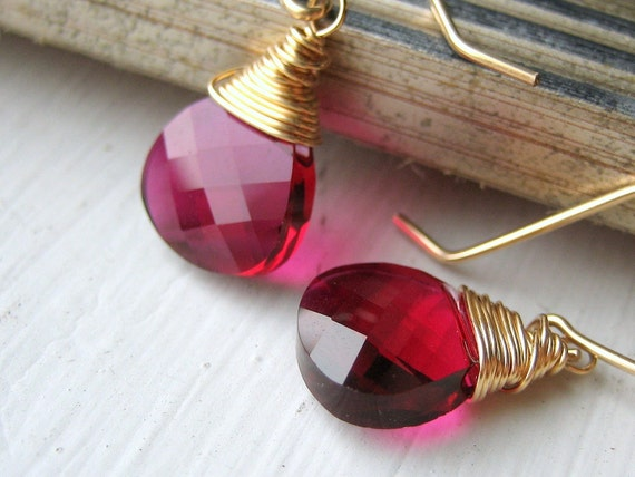 Raspberry Crystal Briolette Earrings on Gold - Fuchsia Swarovski - Wire Wrapped