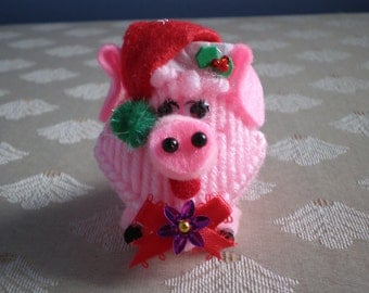 Set of 2 Pig Squeeze Meeze Kissing Plastic Canvas Christmas Ornaments