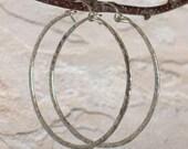 """Thick Silver Hoop Earrings, Large Hammered Hoops, 2 1/4"""" 2"""" 1 3/4"""" 1 1/2"""" Sterling Silver Wire Hoops, Boho Earring, Boho Jewelry, Big Hoops"""