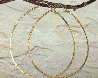 Big Hammered Gold Hoop Earrings, Statement Earrings, 14K Yellow Gold, Rose Gold, Sterling Silver, Textured Wire Hoop Earrings, 2 1/2 inch