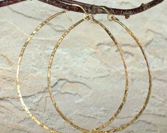 Big Round Gold Hammered Hoop Earrings, 14k Gold Statement Earrings, 2 1/2 Inch Textured Wire Hoop Earrings, Rose Gold Filled Sterling Silver